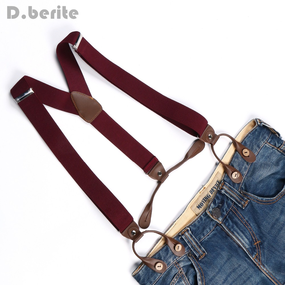New Braces Unisex Suspender Adjustable PU Leather Button Adult Brace Solid Plain Warm Red Belt BD704