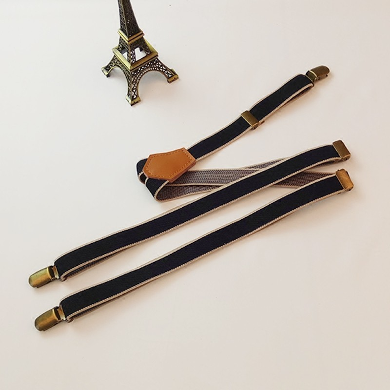 Suspenders Mens Male 2cm Wide Adustable 3 Clips Y Back Striped Navy Suspenders For Women Unisex