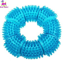 TPR Dog Squeaky Chew Toys For Aggressive Chewers Dental Teeth Mouth Cleaning Training Ring 5.12 Inches Randomly Send