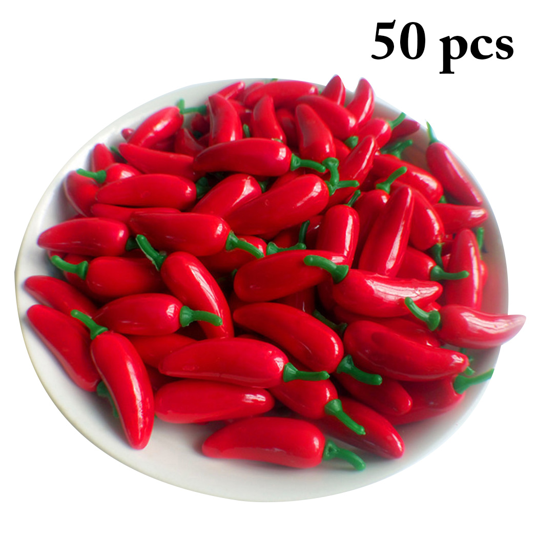 50PCS Artificial Pepper Realistic Foam Artificial Vegetable Fake Vegetable Simulation Mini Fruit And Vegetable Simulation Chili