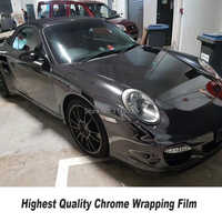 High-end black stretchble chrome mirror wrapping film Vinyl wrap chrome car wrap flexible for any Vehicle 5ft X 65ft/Roll