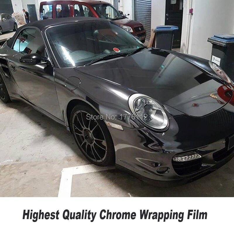 High-end preto stretchble mirror chrome embrulhar em película de Vinil envoltório carro cromo envoltório flexível para qualquer Veículo 5ft X 65ft/Roll