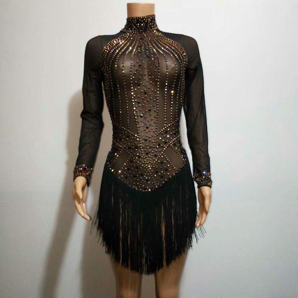 Golden Rhinestones Balck Mesh Bodysuit Tassels See-through Stretch Bodysuits Sexy Nightclub Women DJ Singer Show Latin Costumes