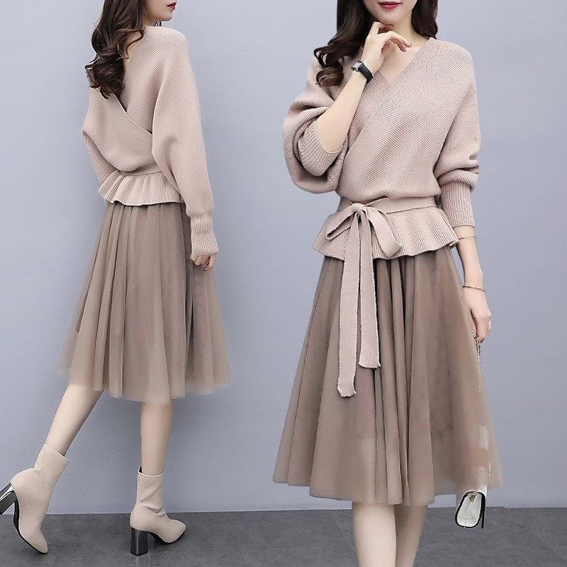 2019 Spring Women V Neck Long Sleeve Knitted Sweater Dress 2 Piece Sets Plus Size 4XL Elegant Bandage Tulle Dress