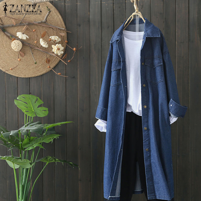 ZANZEA Plus Size Women Denim Blue Jackets Womens Casual Lapel Long Sleeve Windcoats Loose Coat Outwear Loose Chaqueta Mujer 5XL
