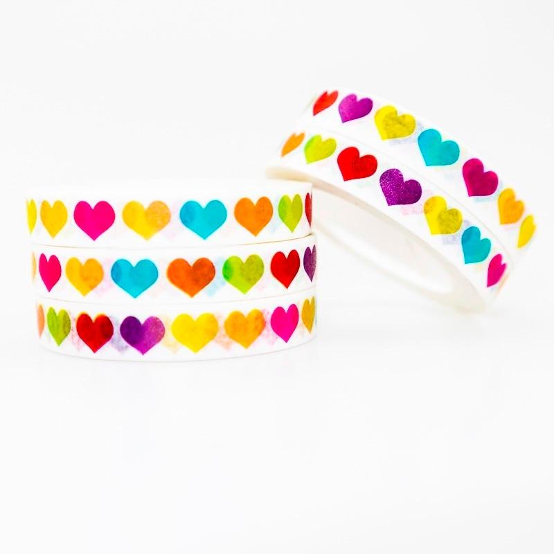 Love Heart Pattern Washi Masking Tape Sticky Color Decorative Tape Set DIY Decoration Office Stationery Scrapbook 1PCS