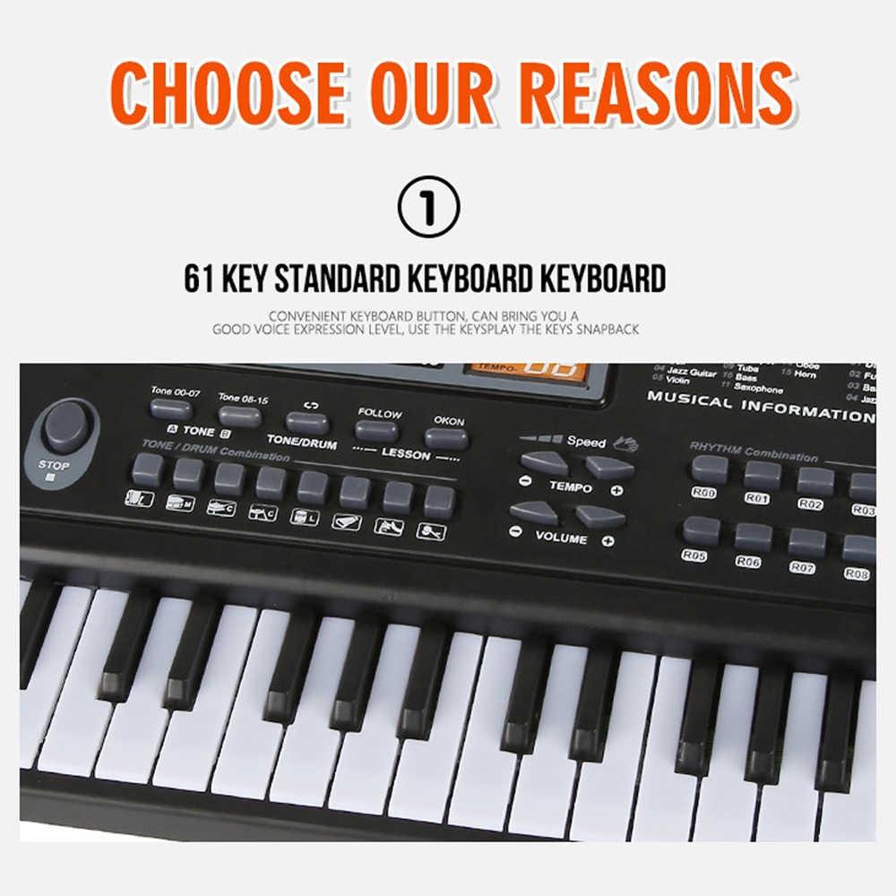 61 מפתחות שחור דיגיטלי מוסיקה אלקטרוני מקלדת מפתח לוח חשמלי פסנתר ילדים מתנת כלי נגינה