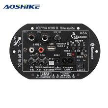 AOSHIKE DC 12 В 24 В 220 В двойной микрофон усилители Bluetooth сабвуфер усилитель доска для 5-10 дюймов сабвуфер динамик DIY