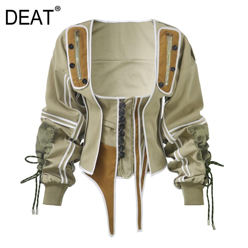 DEAT 2019 New Summer Season Western Style White Sleeveless Dress Woman Overknee And Square Collar Drawsrting Waist Jacket WF1830