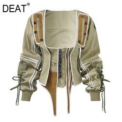 DEAT 2020 new summer Season Western Style White sleeveless Dress Woman Overknee and square collar drawsrting waist jacket WF1830