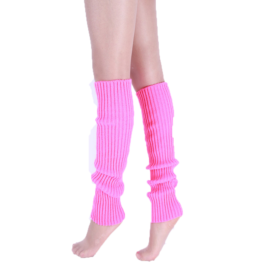 Knee High Leg Warmers Women Neon Elastic Long Knit Winter Knit Girls Fashion Lady Warmer Dance Solid Hosiery Gaiters Legwarmers