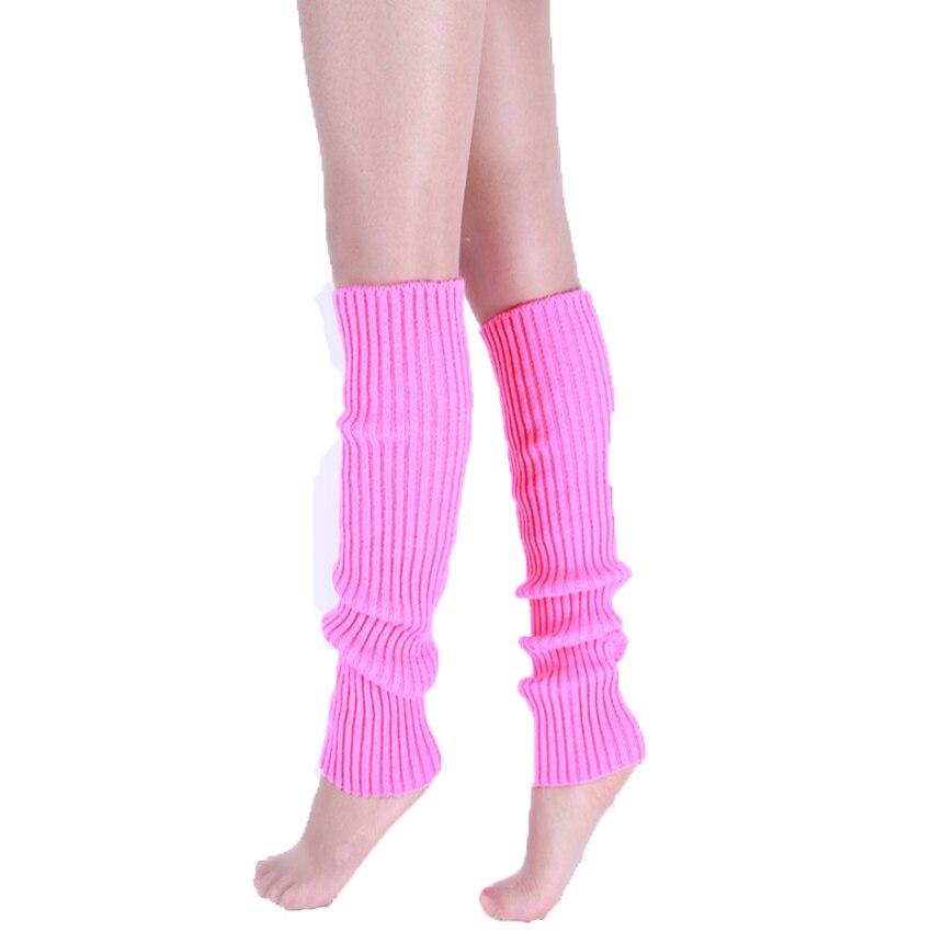 Knee High Leg Warmers Women Neon Elastic Long Knit Winter Knit Girls Fashion Lady Warmer Dance Solid Hosiery Gaiters Legwarmers