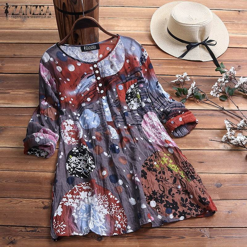 Plus Size Women Blouse Casual Loose Shirt 2019 ZANZEA Spring Summer Print Blusas Tunic Tops Office Lady Tops Womens Clothing