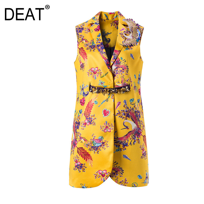DEAT 2019 new summer fashion women clothes Printing Suit turn down collar sleeveless Vest Match pearl