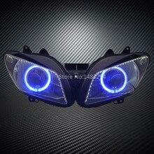 Пользовательский модифицированный синий Ангел глаз белый светодиодный DRL HID проектор фары в сборе подходит для YAMAHA YZF R1 02-03