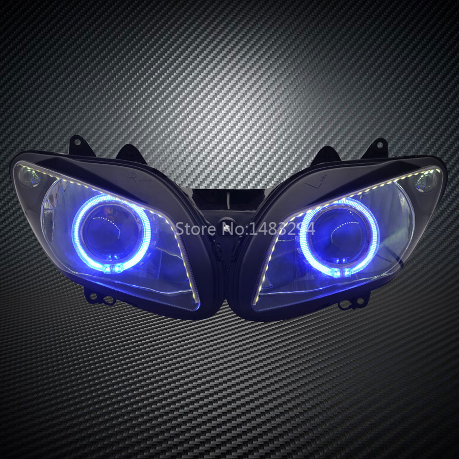Custom Modified Blue Angel Eye White <font><b>Led</b></font> DRL HID Projector <font><b>Headlight</b></font> Assembled Fits For <font><b>YAMAHA</b></font> YZF <font><b>R1</b></font> 02-03 image