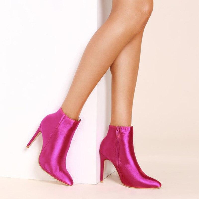 Botas Red Tamaño Rosy Sexy Tacón Punta Americana Nuevo Moda Las Zapatos Única Gran Mujeres 2019 Seda Primavera De Invierno Europea Corto Tx4qvpRYw