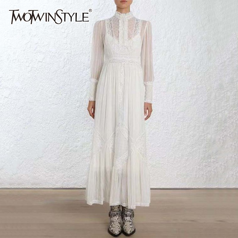 TWOTWINSTYLE Embroidered Chiffon Dress Female Stand Collar High Waist Long Sleeve Elegant Pleated Dresses Women 2019