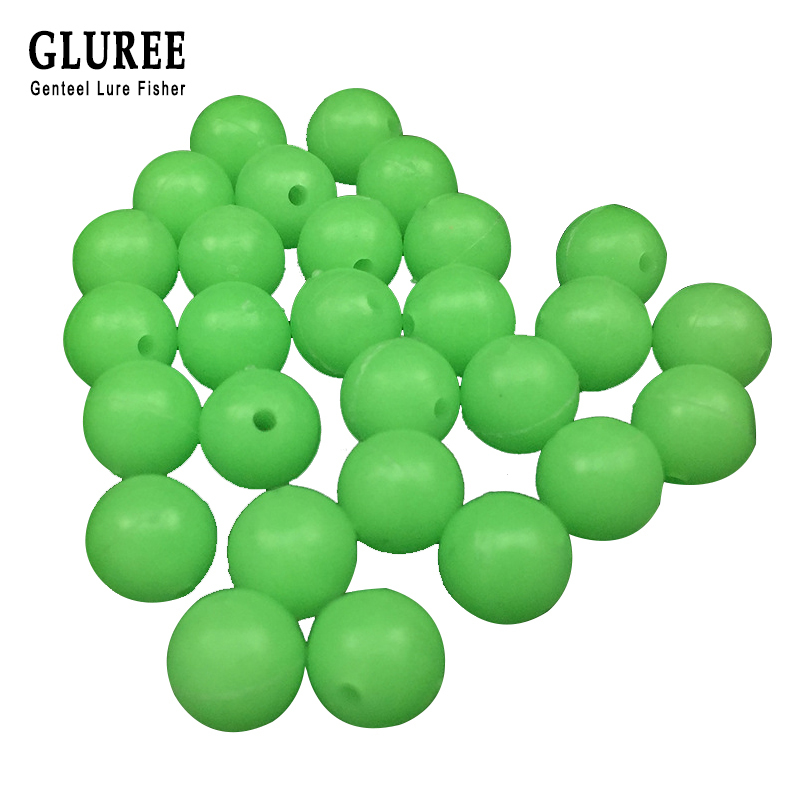 GLUREE 100Pcs/Lot 6mm 8mm Round Luminous Hard Beads Fishing Space Beans Floating Balls Sea Fishing Tackle Lure Accessories