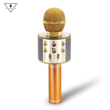 WS-858 Wireless Bluetooth Karaoke Microphone Stereo Mic KTV USB Speaker Player TF Card Music Singing Record Magic Sound Mic цена