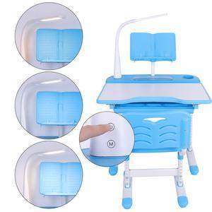 Image 2 - Bureau pour enfants à hauteur réglable et chaise confortable avec lampe 100 ~ 240 V Table détude pour enfants