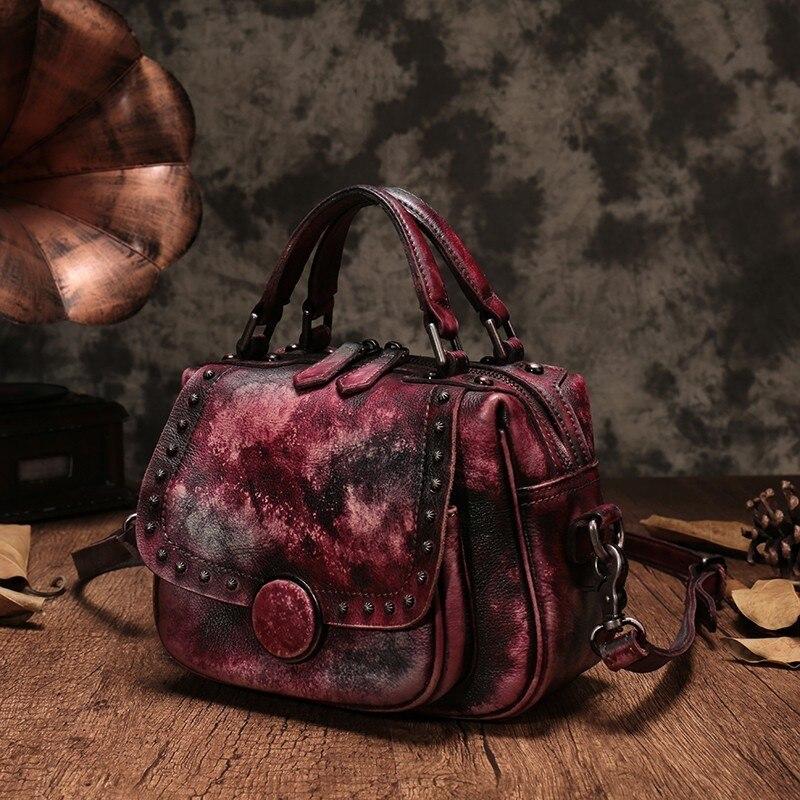 Cuir Cuirs Nouveau Style Bandoulière Des Selle Sacs En Fourre Mode Naturel Brown À 2019 violet Main gules Femmes Véritable tout Sac micaizi fyb67g