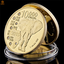 2015 Zambia Republic 1oz.999 African Elephant 10000 Kwacha Gold Animal Commemorative Coin Collection
