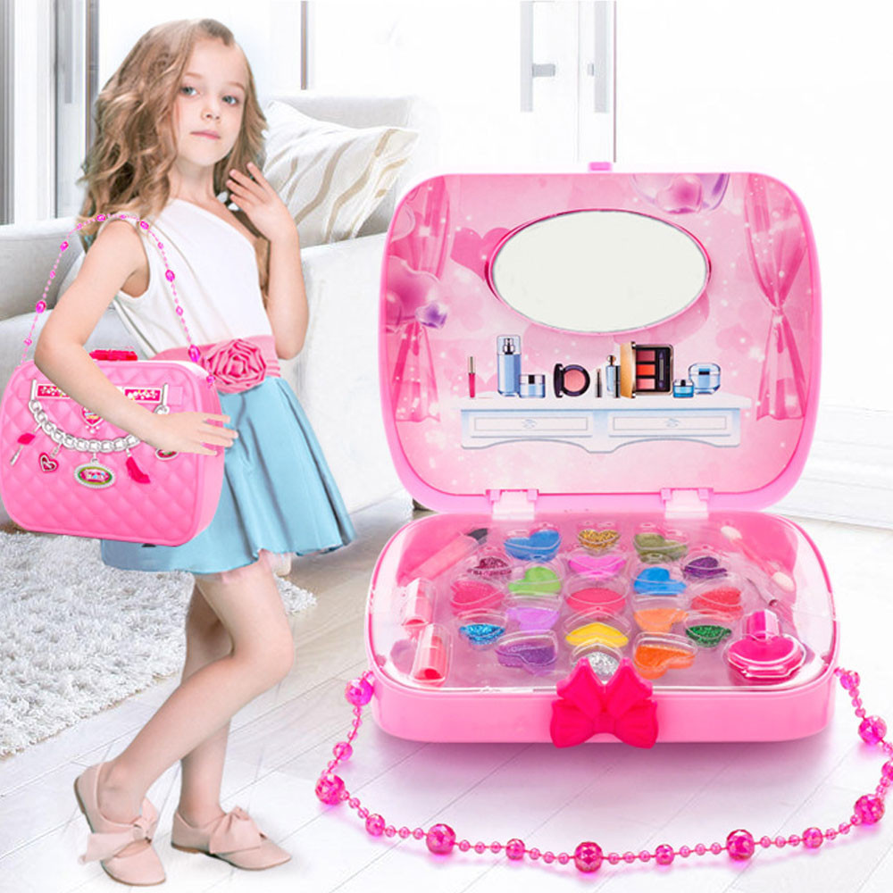 Kids Make Up Toy Set Pretend Play Princess Pink Makeup Beauty Safety Non toxic Kit Toys