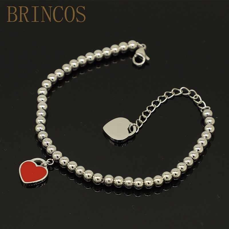 316L Stainless Steel heart Braceler&bracelet For Women Tiff Bead Chain Love Pendant Gold Silver Color Brand Statement Jewelry