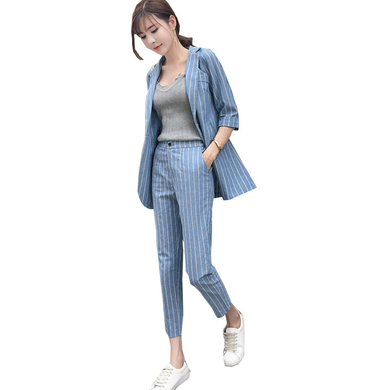 2019 Real New Terno Feminino Business Attire Suit Set Female British Style Small Jacket High Waist Nine point Pants Two Pieces