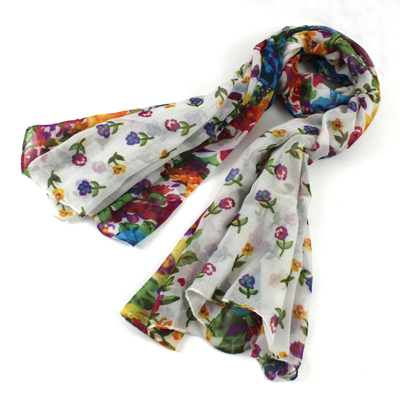 Apparel Accessories New 160*50cm Korean Style Warm Flower Pattern Chiffon Scarves Paris Yarn Silk Scarf Women Bufandas Mujer Foulard Femme 100% High Quality Materials