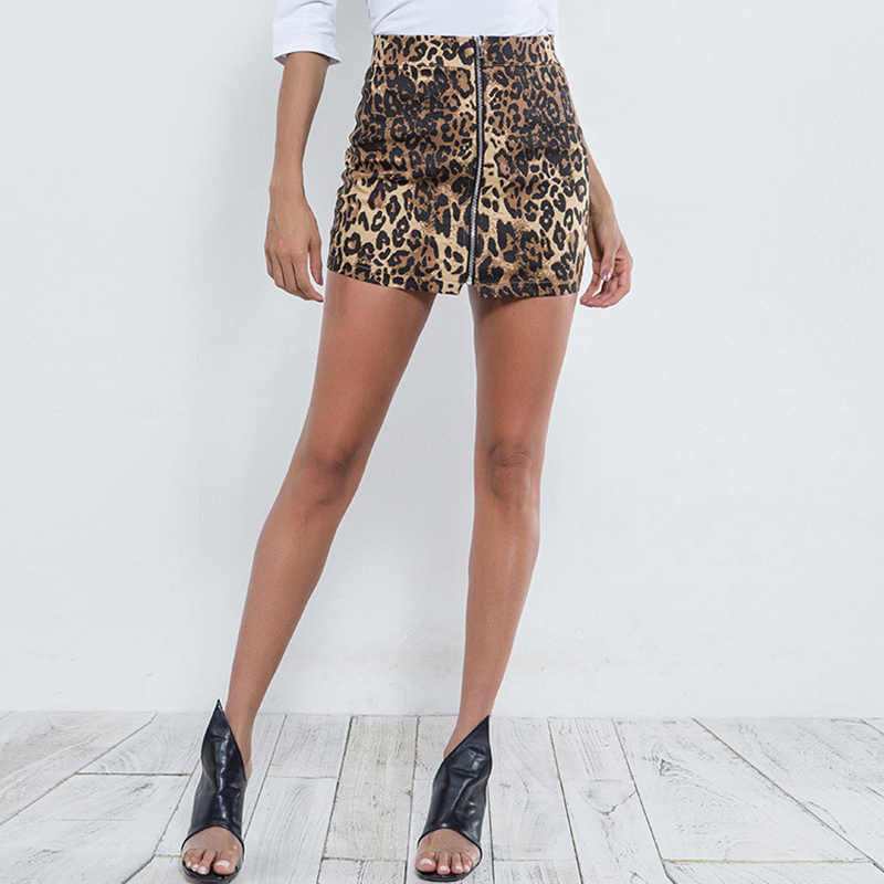 1eda311b8546 Fashion Women Mini Skirt Leopard Zebra Print Zip-up Slit Front Slim Bodycon  Party Short