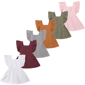 0-3Years Infant Kids Baby Girl Summer Solid Color Ruffle Princess Party Dress Clothes(China)