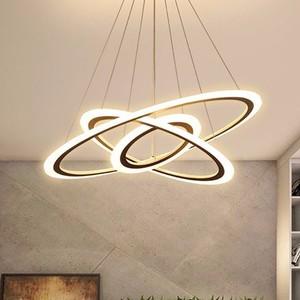 Image 1 - 現代のledシャンデリアダイニングリビングルーム指輪高級光沢時間白黒サスペンションランプとリモコン