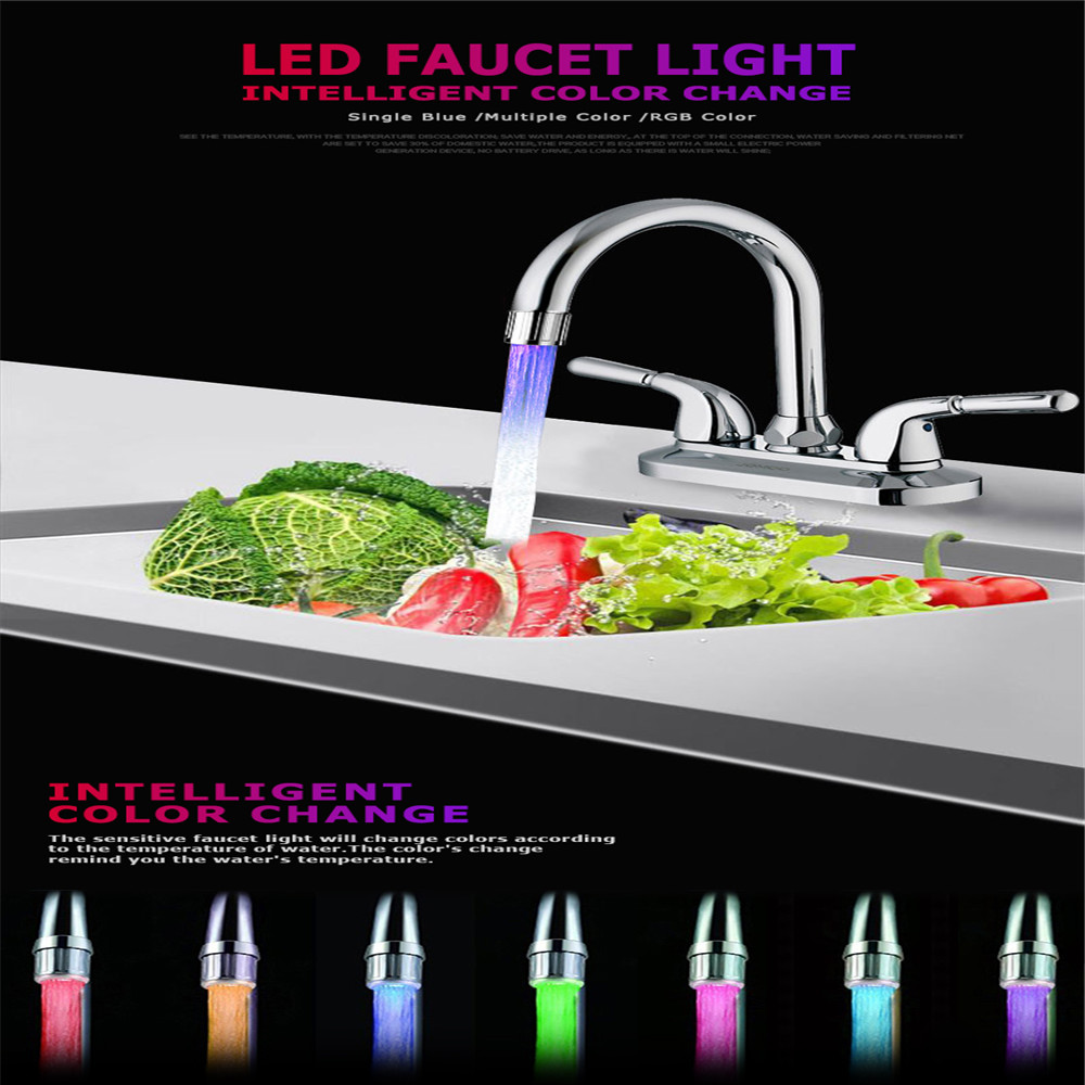 Grifo Glow Light-up LED Water Faucet Colorful Changing Temperature Control Shower Tap Water Nozzle Head Torneira Para Cozinha