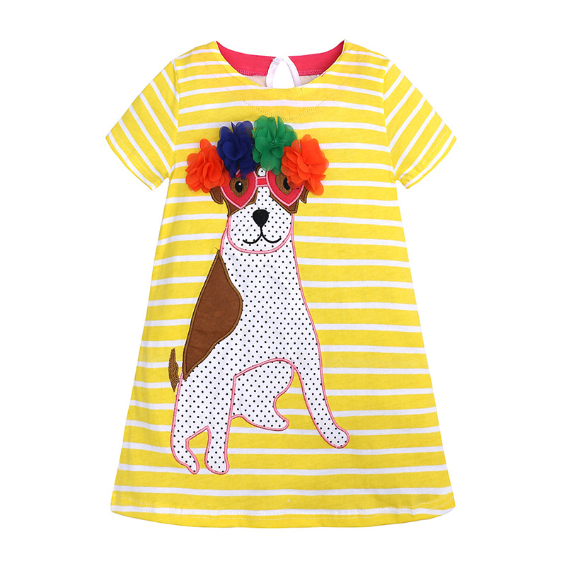 Girls Dress Kids Clothes Cotton Children Summer Casual Cartoon Puppy-Print