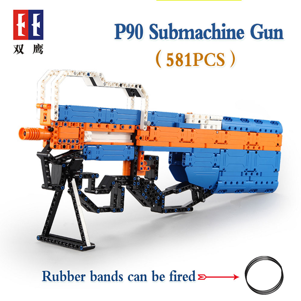 rubber band  gun  AK-47 Garand Rifle  Gun military bricks weapon set can fire building blocks toy for children gift 5