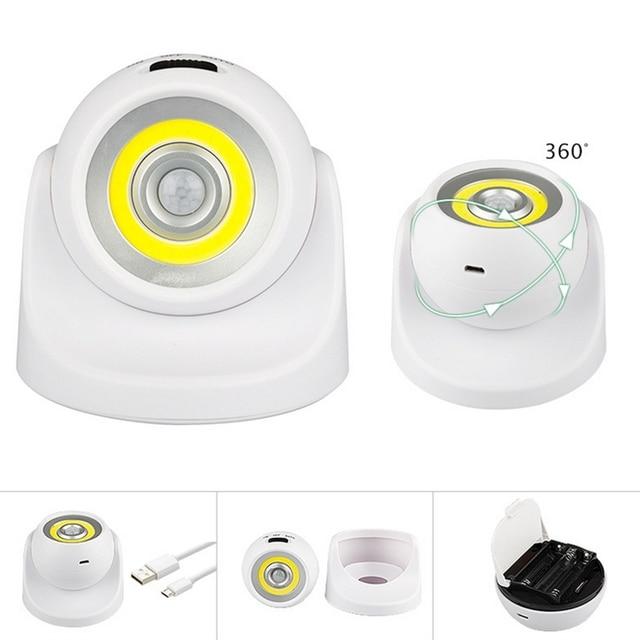 Claite alimentado por bateria/usb recarregável 360 graus de rotação cob pir sensor movimento luz da noite lâmpada parede para corredor