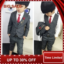 2017 Children Wear New Dress Suits Small Boy Scout Clothing Three Pieces Set Cost+vest+pant