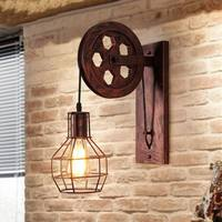 Loft Retro Wall Lamp Lifting Pulley Wall Light Vintage Industrial Style Iron Lanterns Suspension Pendant Light Home Sconce Light