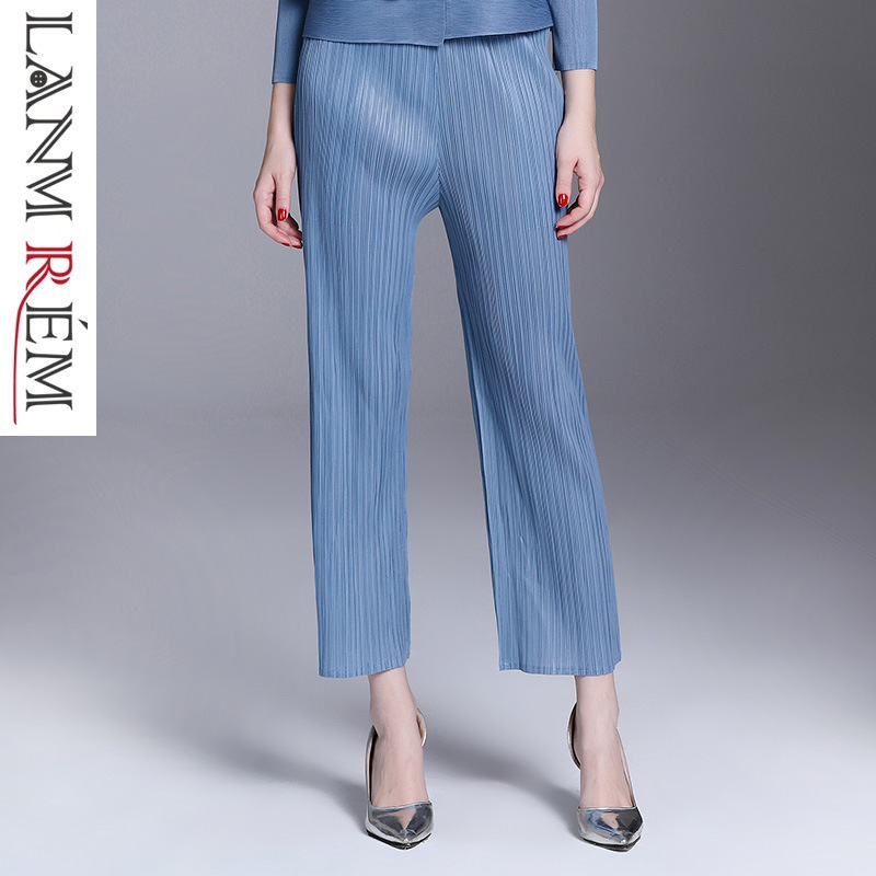 LANMREM 2019 New Fashion Pleated Loose   Wide     Leg     Pants   Casual Elastic Waist Pockets Trousers Female's high quality bottoms YF234