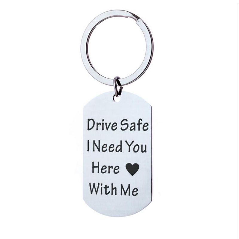 Drive Safe I need you with me here Dog Tag Keychain Drive Safe Keychain Anniversary Gift for New Driver Husband Boyfriend Gifts image