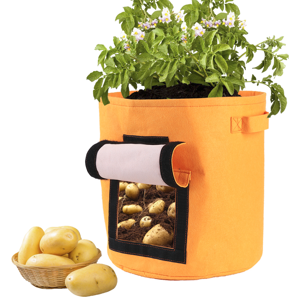 7 Gallons Fabrics Tomatoes Potato Grow Bag with Handles Flowers Vegetables Planter Bags Home Garden Planting Accessories-in Grow Bags from Home & Garden