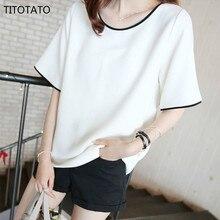 Titotato Summer Plus Size M-2XL Women Tshirt Print Cotton Modis 2019 O-Neck Short Sleeve Clothes Casual Black Outside Femme Tops