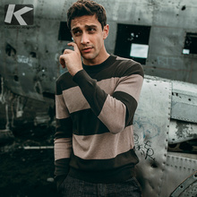 Autumn Men Sweater Cotton Striped Black Green Color Pullovers For Man Fashion Slim Clothing New Male Wear Knitting Tops 11921