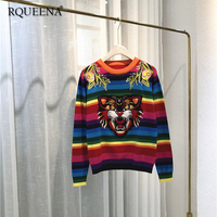Oversized Tiger Rainbow Sweater Women 2018 Fall Winter Knitted Loose Colorful Jumper Women's Knit Striped Embroidery Sweater