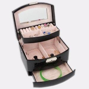 Image 4 - Otomatik deri mücevher kutusu üç katmanlı saklama kutusu kadınlar için küpe yüzük kozmetik düzenleyici tabut süslemeleri