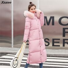 купить 2018 Winter Women Hooded Coat Fur Collar Thicken Warm Long Jacket Female Plus Size Outerwear Parka Ladies Chaqueta Feminino по цене 1991.71 рублей