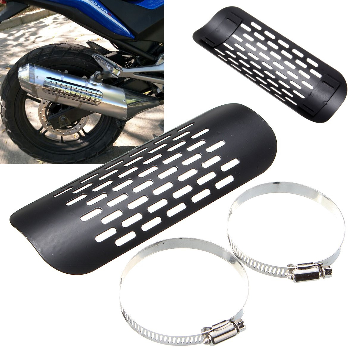 motorcycle exhaust muffler exhaust pipe heat shield cover guard for harley chopper cruiser black