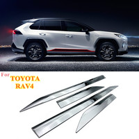 1 Set ABS Chrome Door Body Molding Fit For Toyota RAV4 2019 2020 Door Body Anti scratch Protector Car Side Strips Trim Cover